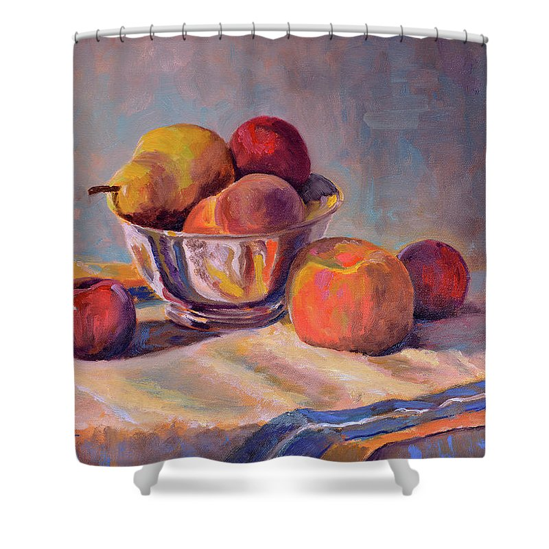 Still Shower Curtain featuring the painting Bowl With Fruit by Keith Burgess