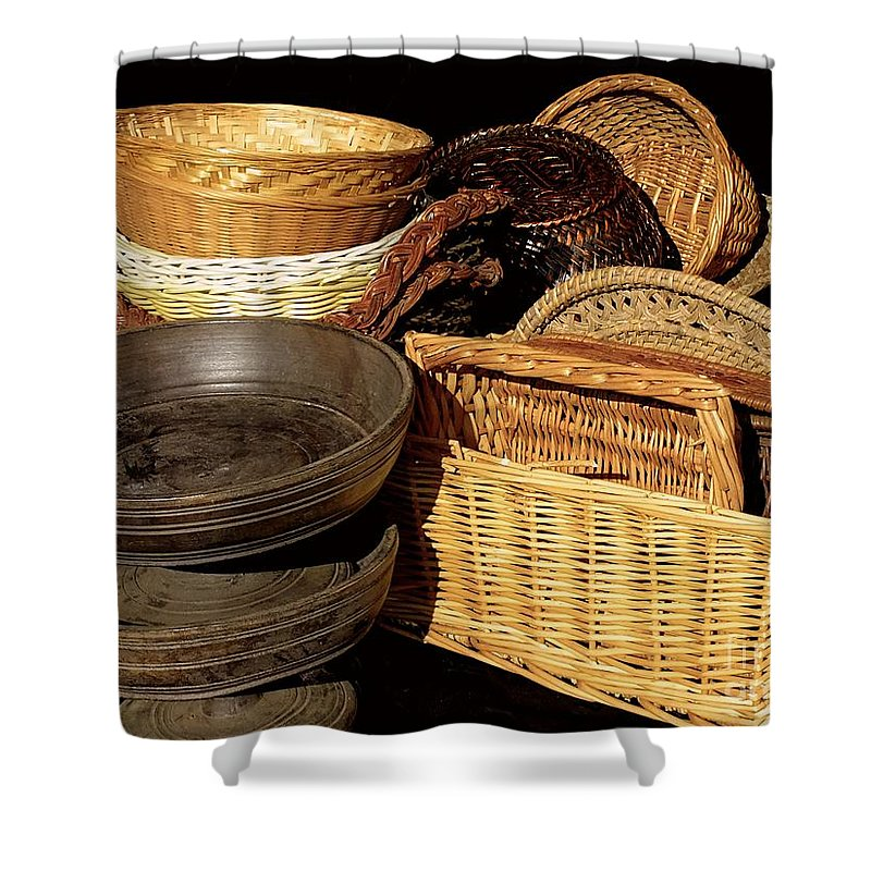Baskets Shower Curtain featuring the photograph Bowls And Baskets by RC DeWinter
