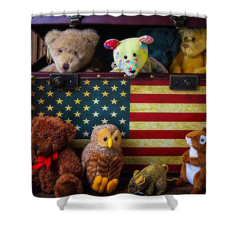 Teddy Bear Shower Curtain Featuring The Photograph Box Full Of Bears By Garry Gay