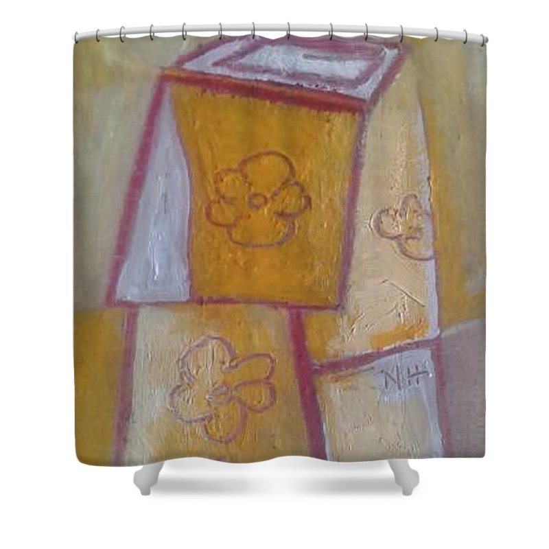 Shower Curtain featuring the painting Boxed Vase by Nima Honarbakht