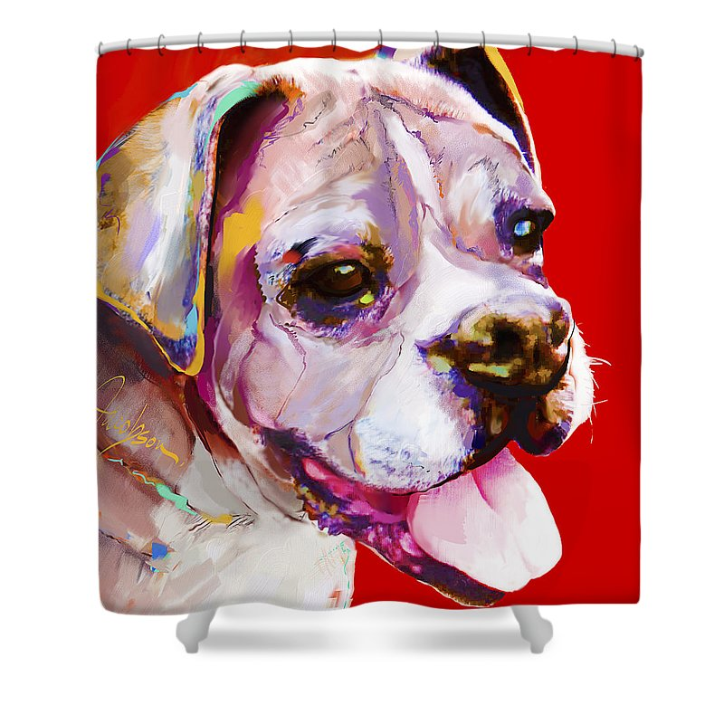 Boxer Shower Curtain featuring the painting Boxer Dog by Jackie Jacobson