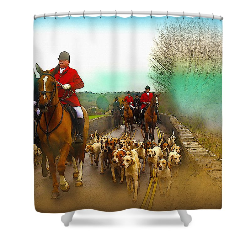 Home Art & Collectibles Shower Curtain featuring the digital art Boxing Day Hunt by Don Kuing
