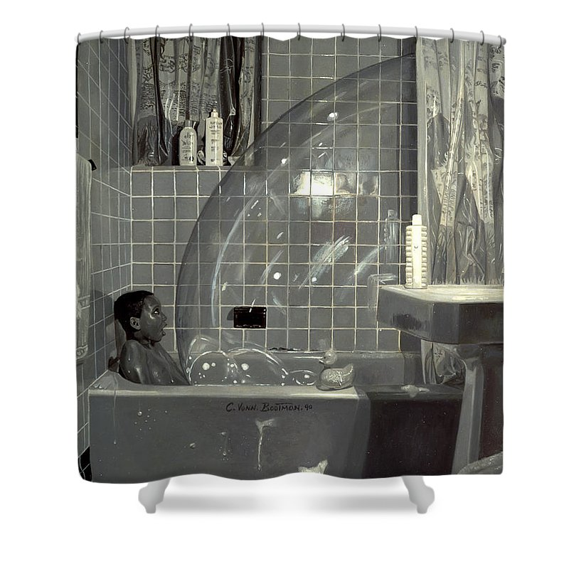 Boy Shower Curtain Featuring The Painting And Bubble By Colin Bootman