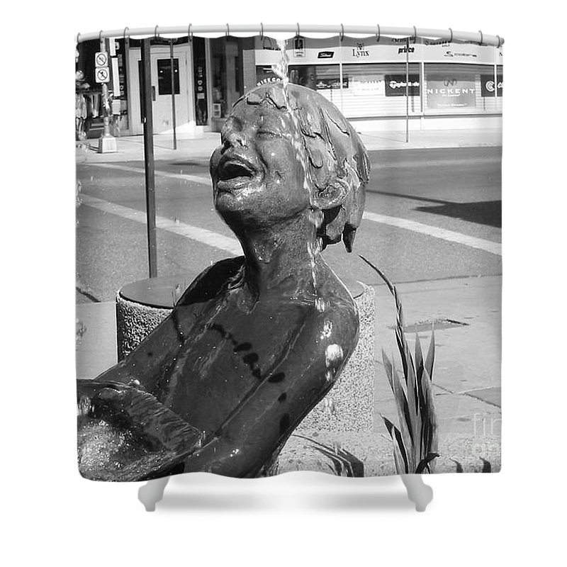 Boy In Fountain Sculture Shower Curtain featuring the photograph Boy In Fountain Sculture Grand Junction Co by Tommy Anderson