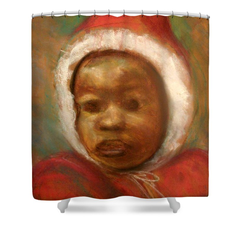 Portrait Shower Curtain featuring the drawing Boy In Red by Jan Gilmore