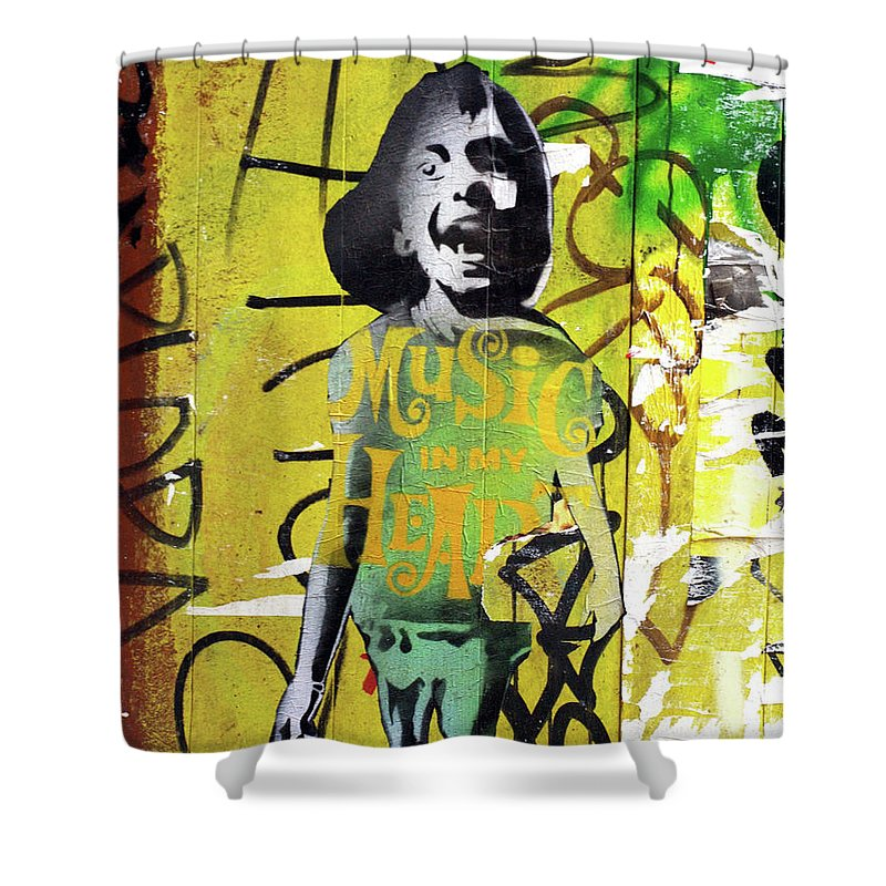 Graffiti Shower Curtain featuring the photograph Boy In Yellow by Roger Muntes