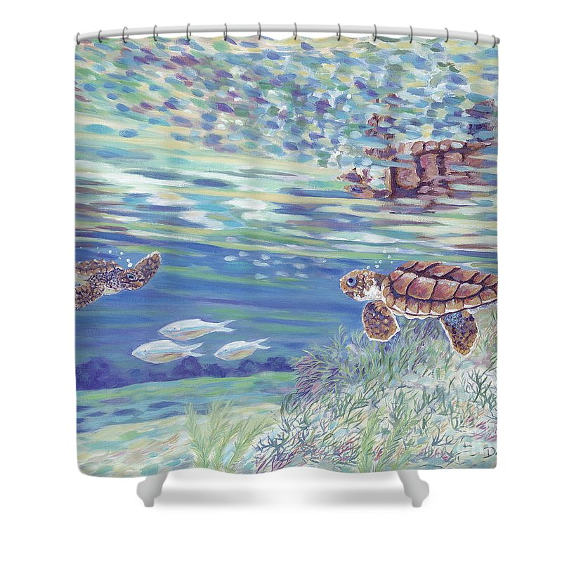 Ocean Shower Curtain featuring the painting Boy Meets Girl by Danielle Perry