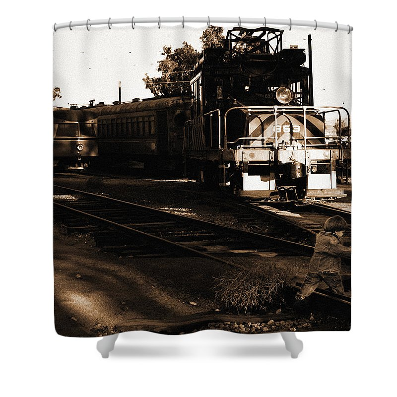 Train Shower Curtain featuring the photograph Boy On The Tracks by Anthony Jones