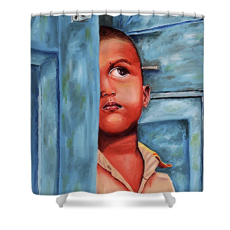 Boy Waiting At Door Shower Curtain featuring the painting Boy Waiting At Door by Sneha Choudhary