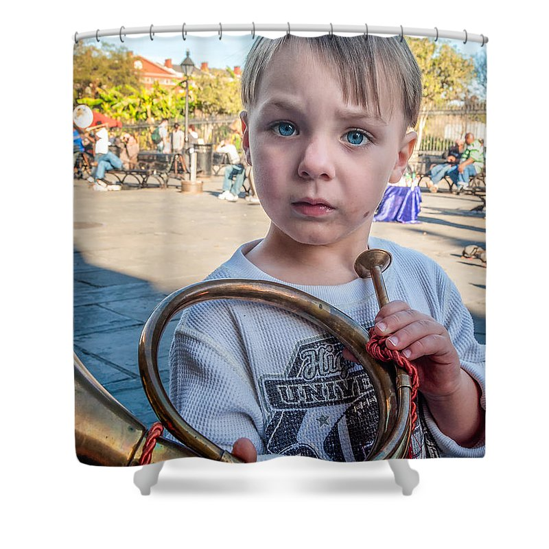 Boy Shower Curtain featuring the photograph Boy With A Horn _ Nola by Kathleen K Parker