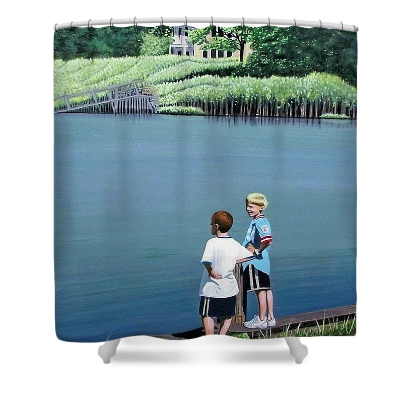 Landscape Shower Curtain featuring the painting Boys Of Summer by Kenneth M Kirsch