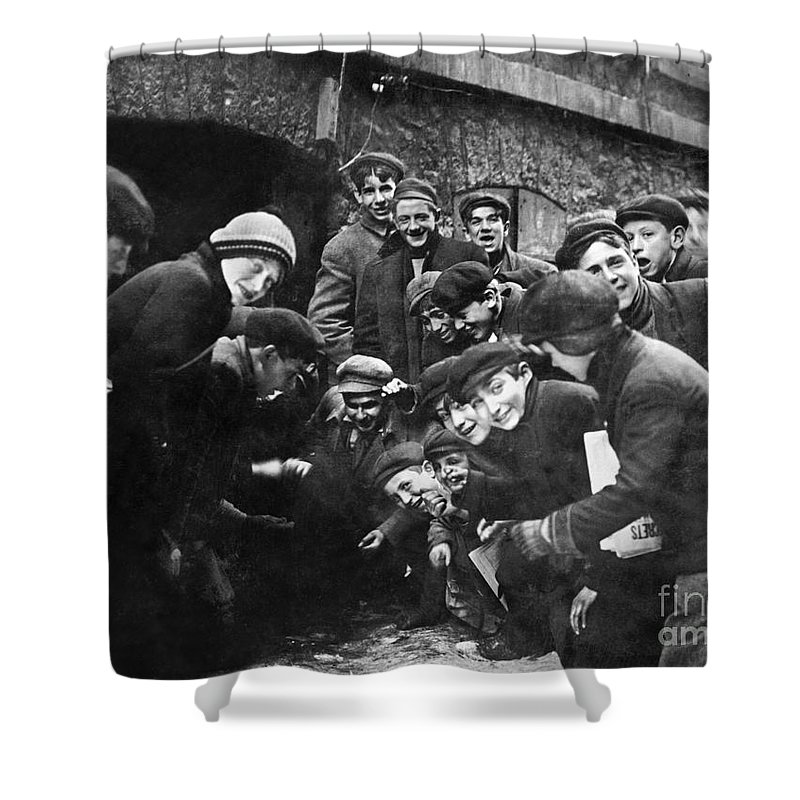 1910 Shower Curtain featuring the photograph Boys Shooting Craps, C1910 by Granger