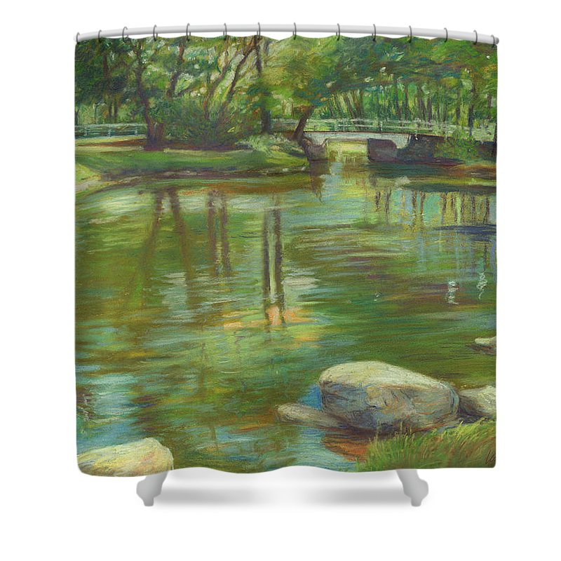 Mcgrath Shower Curtain featuring the painting Bradford Ma College Pond by Leslie Alfred McGrath
