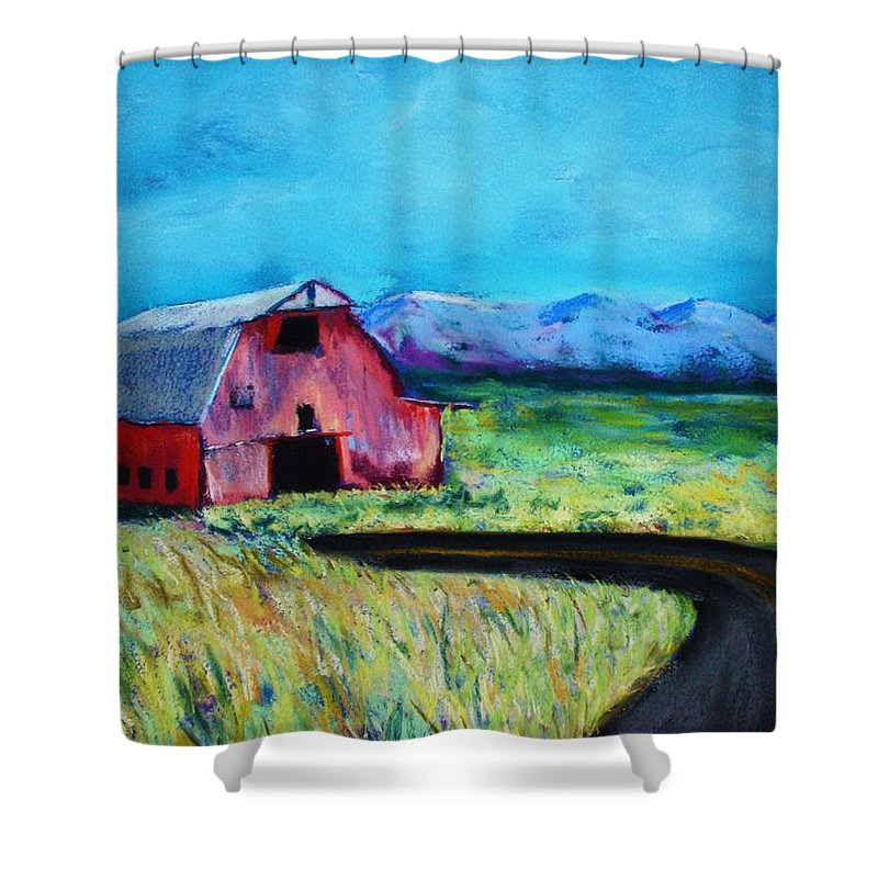 Barn Shower Curtain featuring the pastel Bradley's Barn by Melinda Etzold