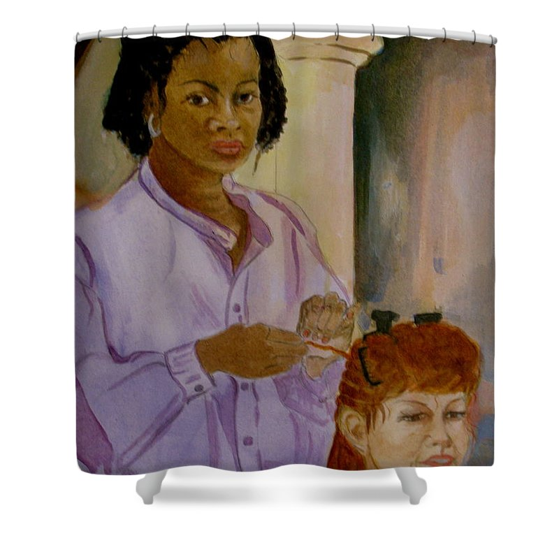 Island Girl Shower Curtain featuring the painting Braids by Donna Steward