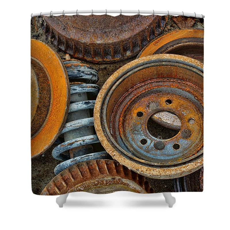 Automotive Shower Curtain featuring the photograph Brake Drums - Disc Brakes - Shock Assembly by Nikolyn McDonald