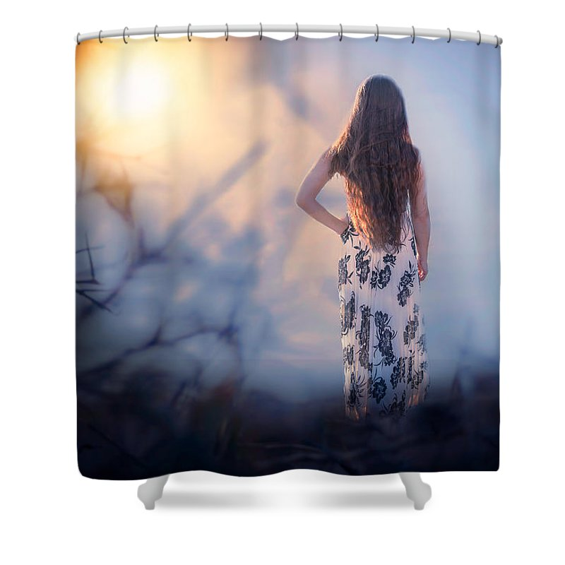 Girl Shower Curtain featuring the photograph Brambledown by Michelle Monk