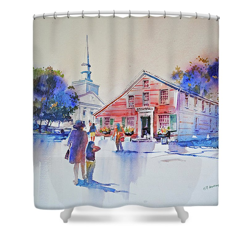 Visco Shower Curtain featuring the painting Bramhall's Corner by P Anthony Visco