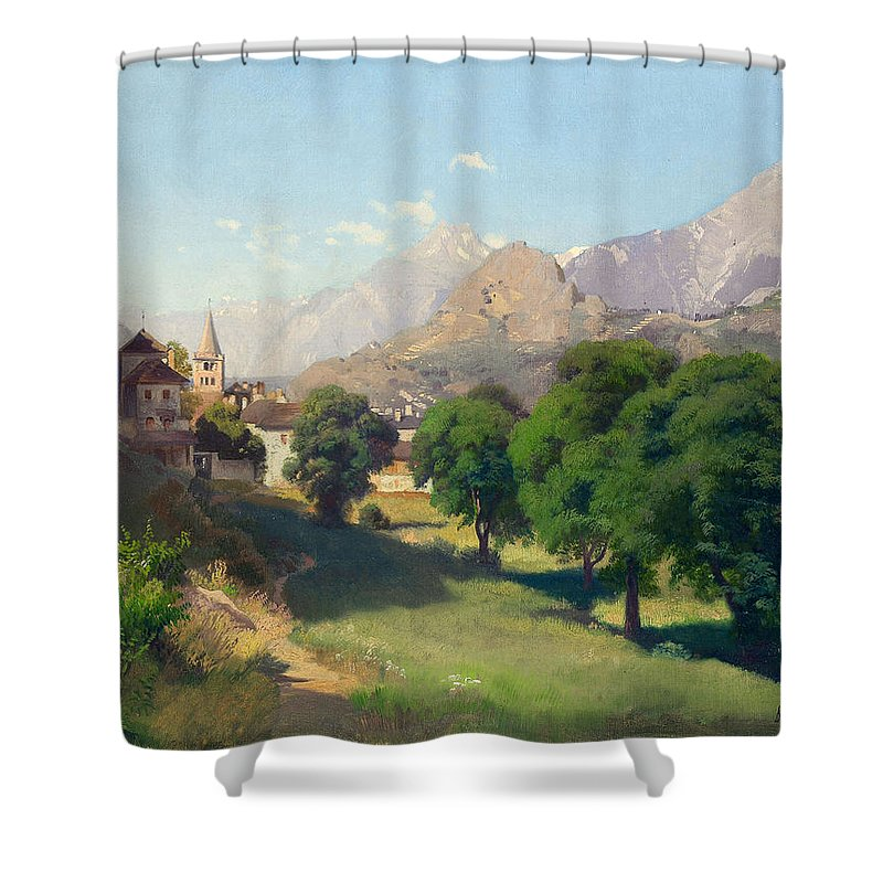 Johann Gottfried Steffan Shower Curtain featuring the painting Bramois. Wallis. 1861 by Johann Gottfried Steffan