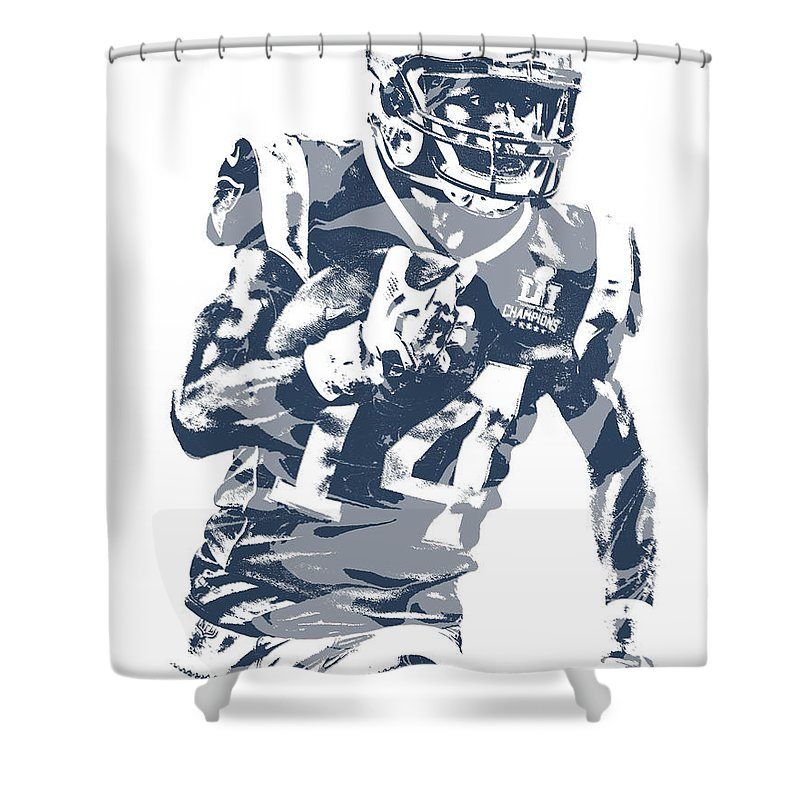 Brandin Cooks Shower Curtain Featuring The Mixed Media New England Patriots Pixel Art 1