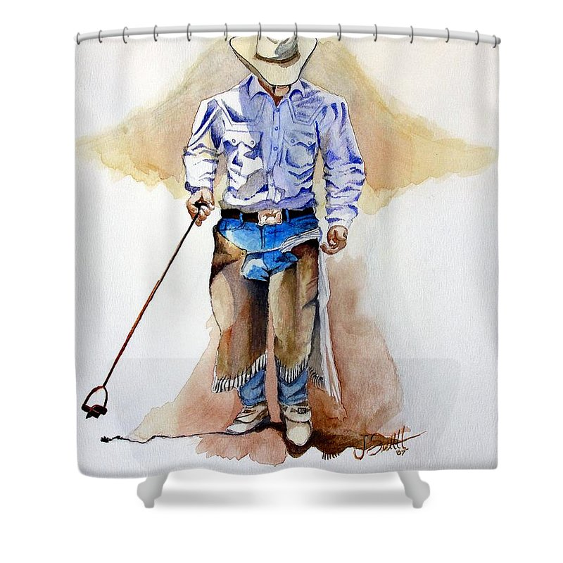 Western Shower Curtain featuring the painting Branding Blisters by Jimmy Smith