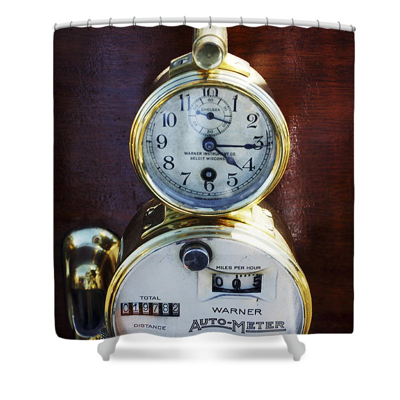 1910 Pope Hartford T Shower Curtain featuring the photograph Brass Auto-meter Speedometer by Jill Reger