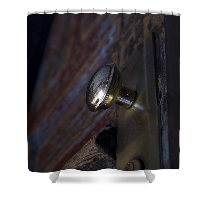 Door Shower Curtain featuring the photograph Brass Door Knob I by Henri Irizarri