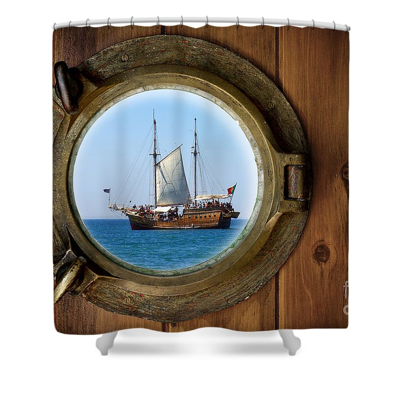 Aged Shower Curtain featuring the photograph Brass Porthole by Carlos Caetano