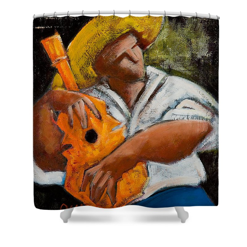 Puerto Rico Shower Curtain featuring the painting Bravado Alla Prima by Oscar Ortiz