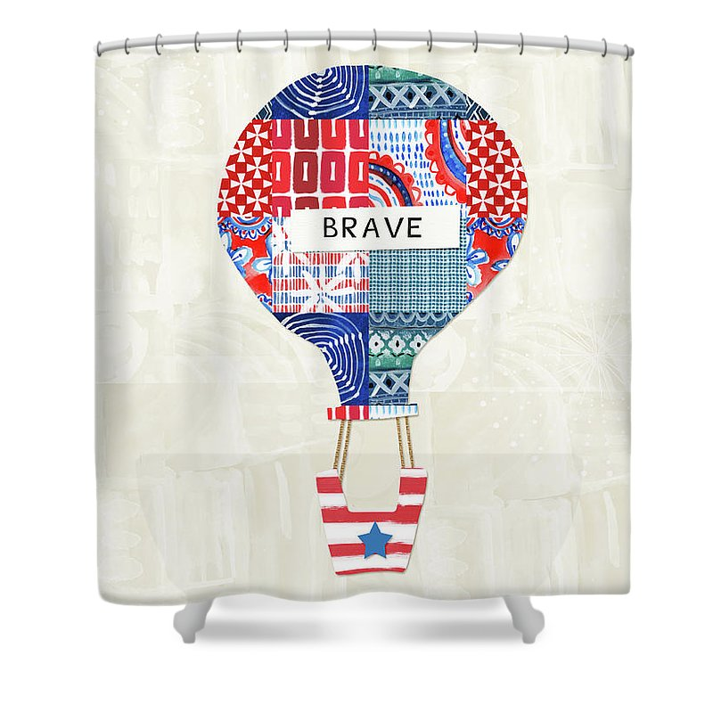 Red Shower Curtain Featuring The Mixed Media Brave Balloon Art By Linda Woods