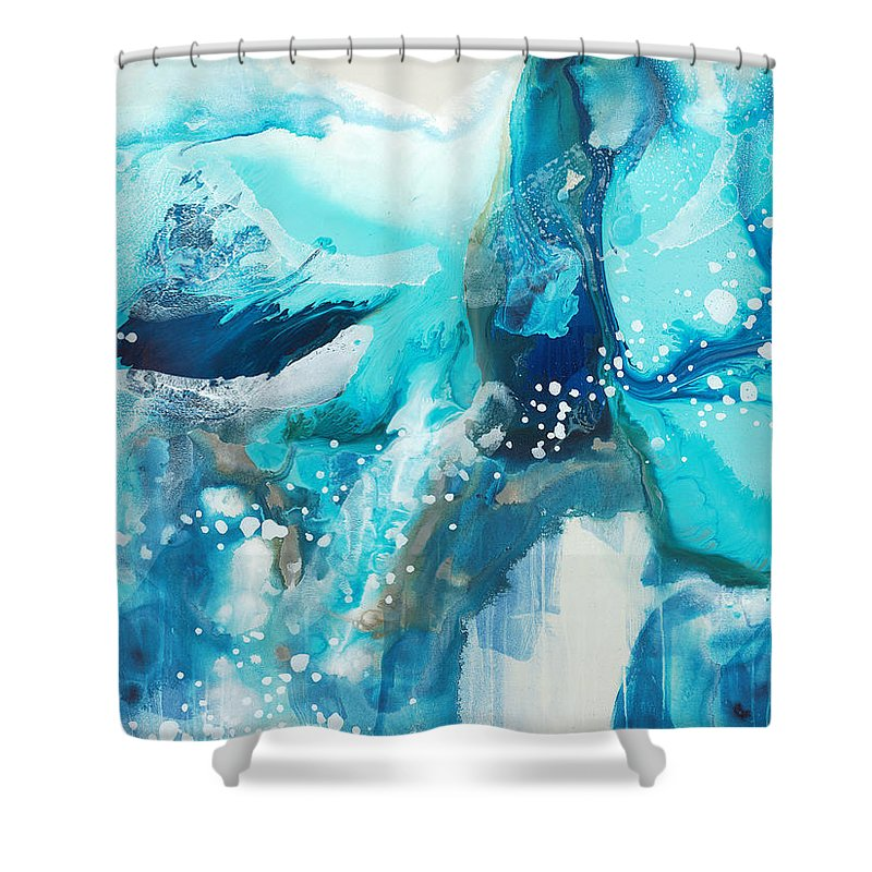 Abstract Shower Curtain featuring the painting Brave Depths by Claire Desjardins
