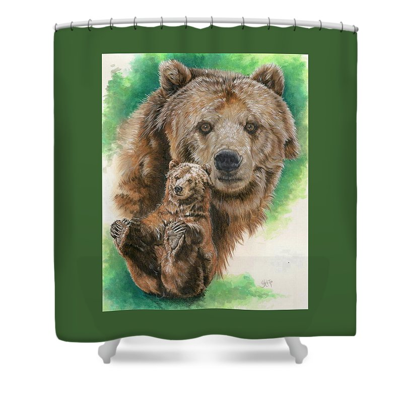 Bear Shower Curtain featuring the mixed media Brawny by Barbara Keith