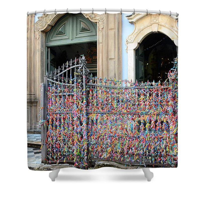 Bonfim Shower Curtain featuring the photograph Brazilian Wish Ribbons by Ralf Broskvar