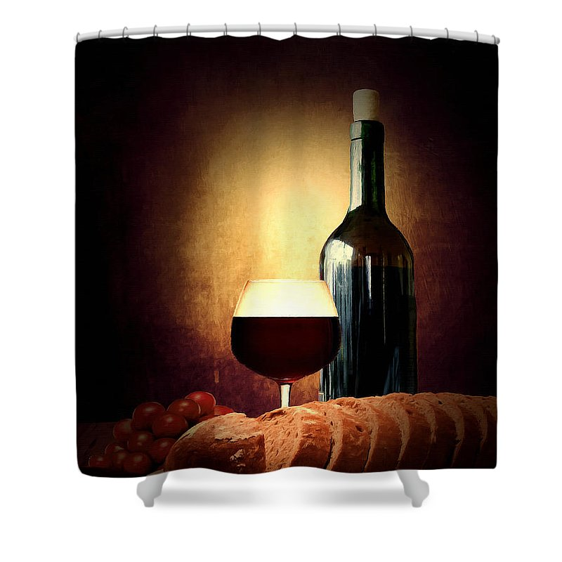 Wine Shower Curtain featuring the photograph Bread And Wine by Lourry Legarde