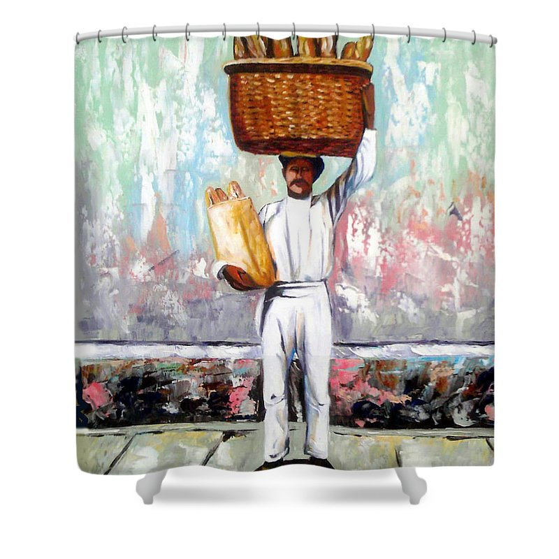 Bread Shower Curtain featuring the painting Breadman by Jose Manuel Abraham