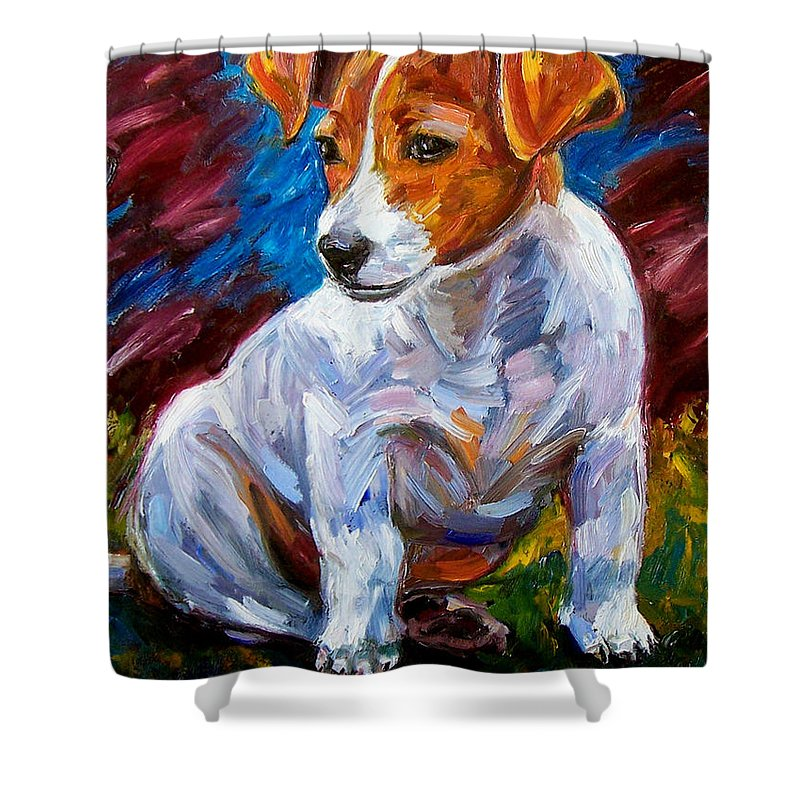 Dog Art Shower Curtain featuring the painting Break Time by Debra Hurd
