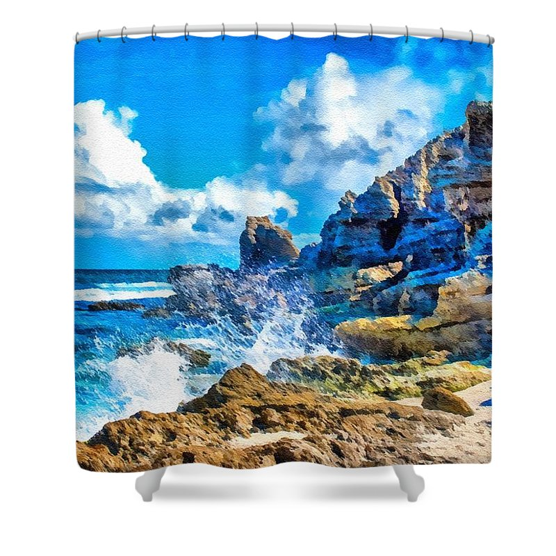 Classic Landscape Shower Curtain featuring the digital art Breakers On The Rocks At Kenridgeview - On - Sea L B by Gert J Rheeders