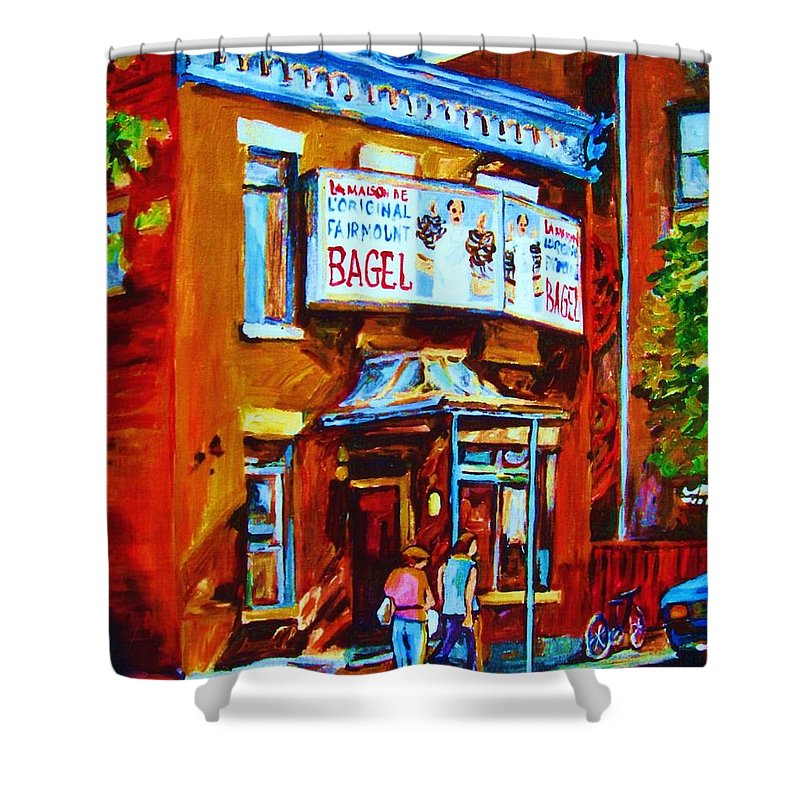 Fairmount Bagel Shower Curtain featuring the painting Breakfast At The Bagel Cafe by Carole Spandau