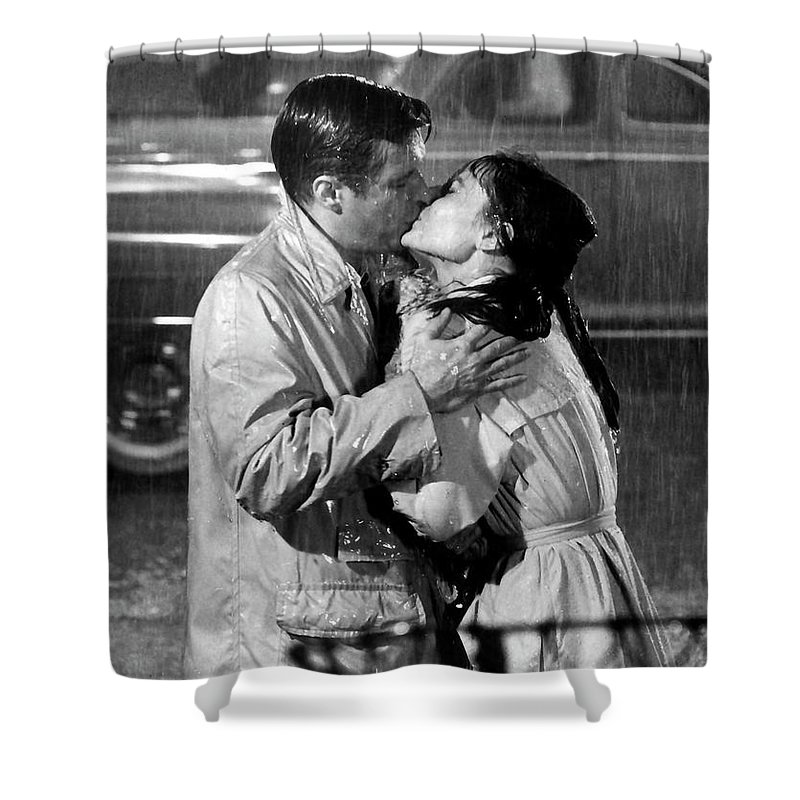 Paramount Shower Curtain featuring the photograph Breakfast At Tiffanys Audrey Hepburn And George Peppard by R Muirhead Art