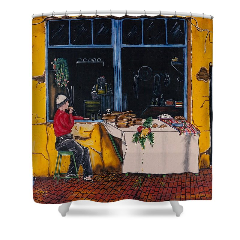Capri Shower Curtain featuring the painting Breakfast In Capri by V Boge