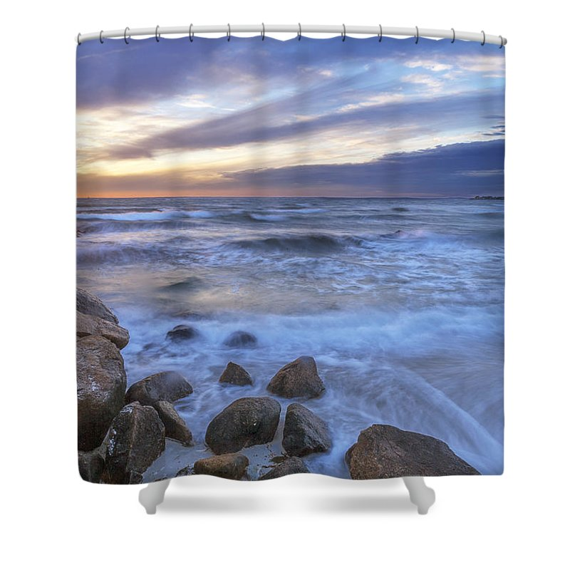 Buzzards Bay Shower Curtain featuring the photograph Breaking Waves At Old Silver Beach by Ronald Wilson