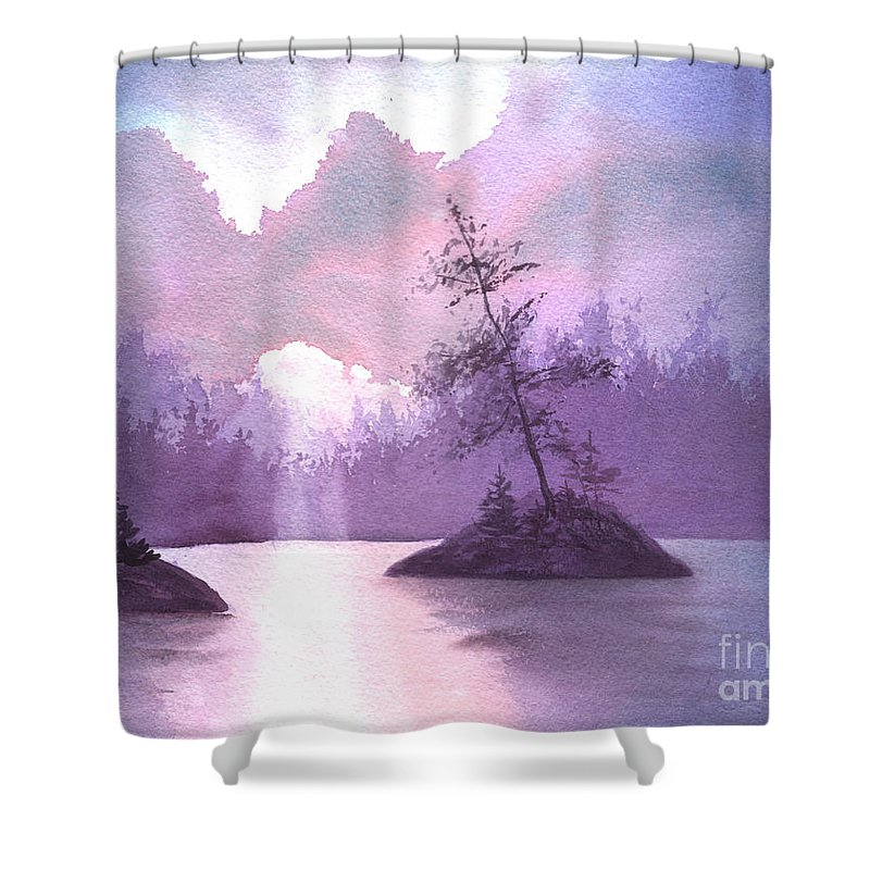 Landscape Shower Curtain featuring the painting Breakthrough by Lynn Quinn