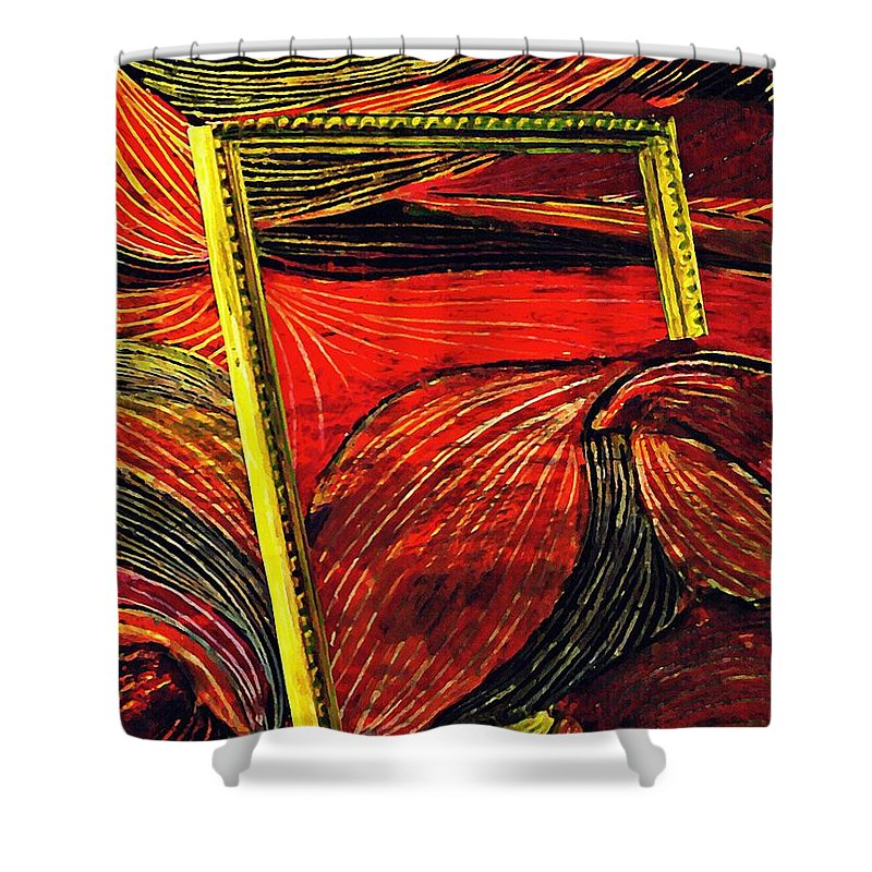 Wave Shower Curtain featuring the mixed media Breakthrough by Sarah Loft