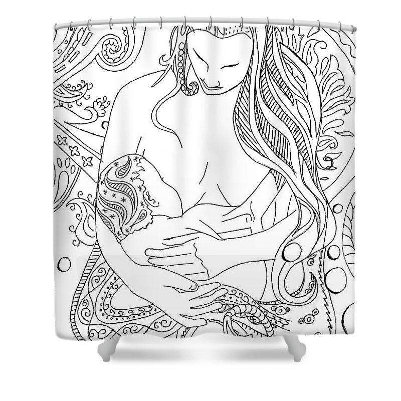 Birth Shower Curtain featuring the drawing Breastfeeding Is Beautiful by Kate Evans