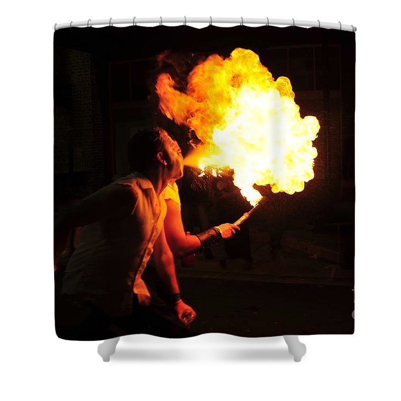 Fire Shower Curtain featuring the photograph Breath Of Fire by David Lee Thompson