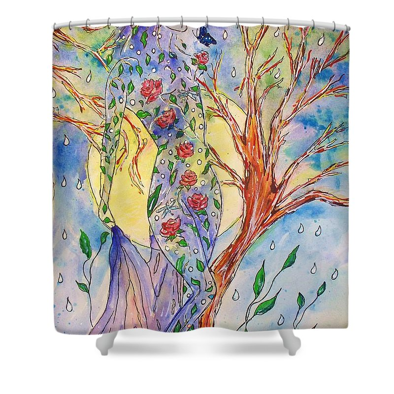 Female Figure Shower Curtain featuring the painting Breath Of Life by Robin Monroe