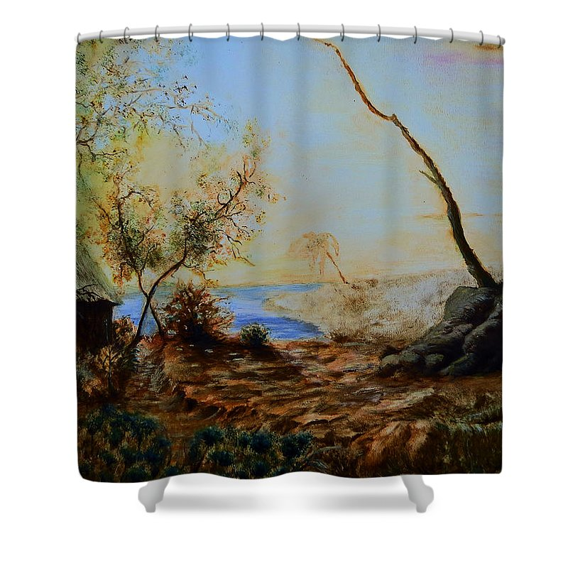 Hill Shower Curtain featuring the painting Breathing Freely by Abey Mekonnen