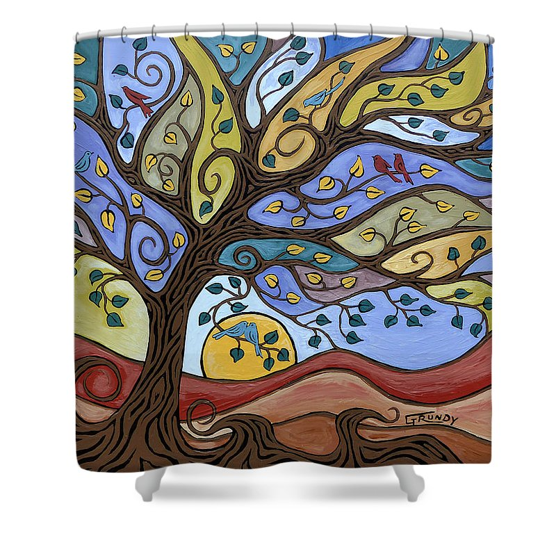 Landscape Painting Shower Curtain featuring the painting Breeze Among The Branches by Stephen Grundy
