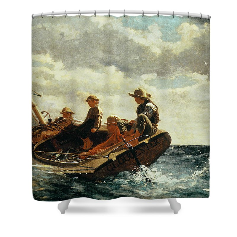 Breezing Up Shower Curtain featuring the painting Breezing Up by Winslow Homer