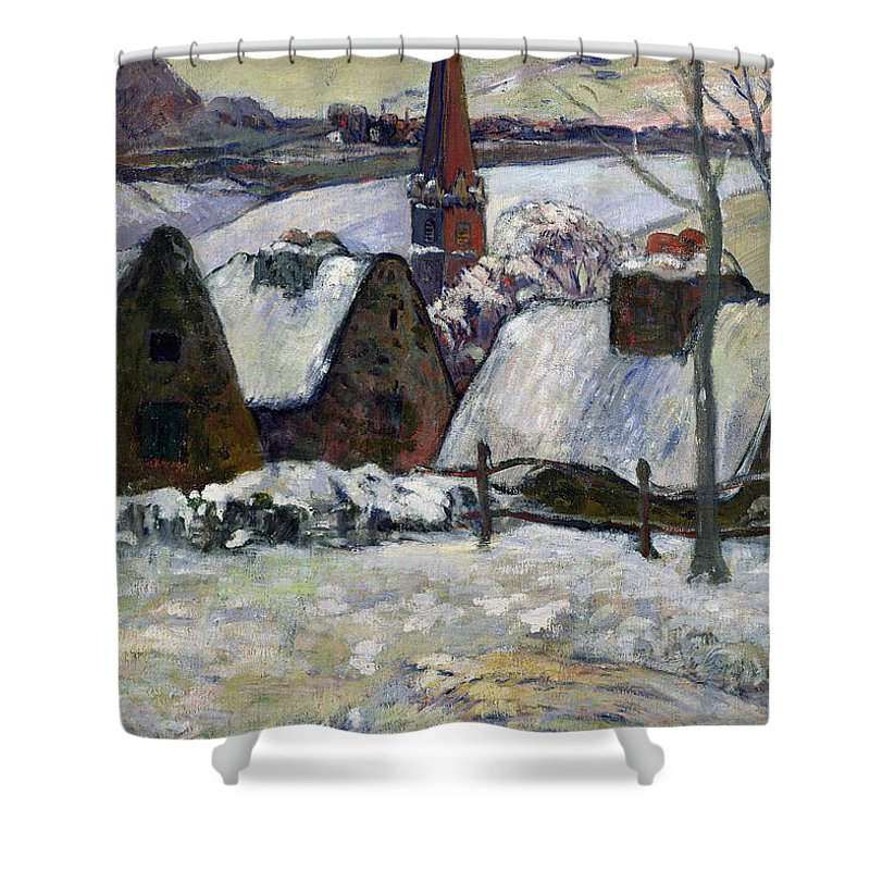 Breton Village Under Snow Shower Curtain featuring the painting Breton village under snow by Paul Gauguin